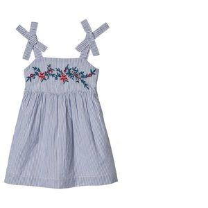 Baby Gap Blue Stripe Yarn Dye Embroidered Dress
